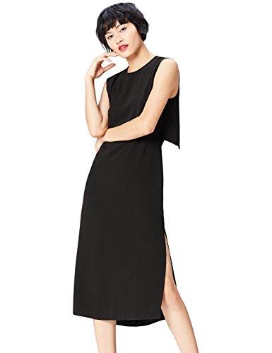 Marca Amazon - find. Vestido Elegante Sin Mangas Largo por la Rodilla para Mujer, Negro (Black), 36, Label: XS
