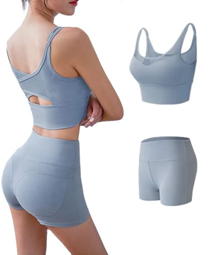 CK CrisKat Mujer Conjunto de Ropa Deportiva Secado Rápido Top y Pantalones Cortos Set 2 Piezas Ropa de Fitness para Gimnasio Yoga de Entrenamiento (M, Azul Claro2)