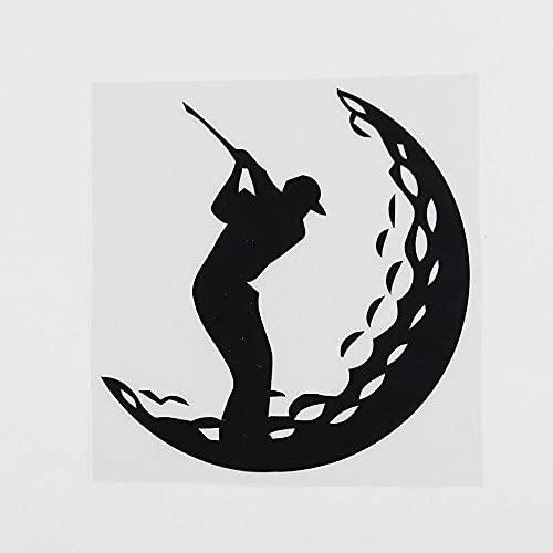WBXZY Autoaufkleber 12,4 CMX12,8 cm Golf Golf Golfspieler Sportball Vinyl Autoaufkleber Schwarz/Silber 8A-0295-schwarz