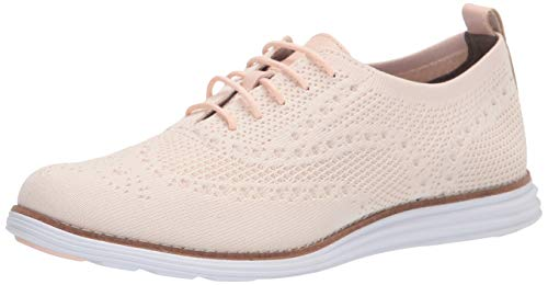 Cole Haan womens Originalgrand Stitchlite Wingtip Oxford, Clay Pink & Ivory Knit Python Printed Leather Optic White Sole Clay Pink Rubber Pods, 7 US