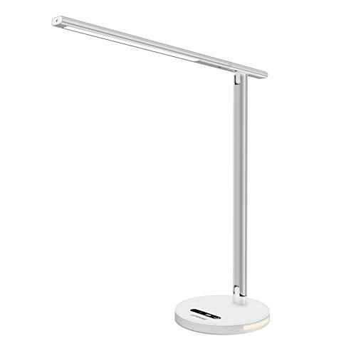 LEPOWER LED Desk Lamp, Eye-Caring Table Study Lamps 8W, Dimmable Office Lamp Touch Control, 3 Color Modes Stepless Brightness, Memory Function, Foldable LED Lamps with Night Light (Silver)