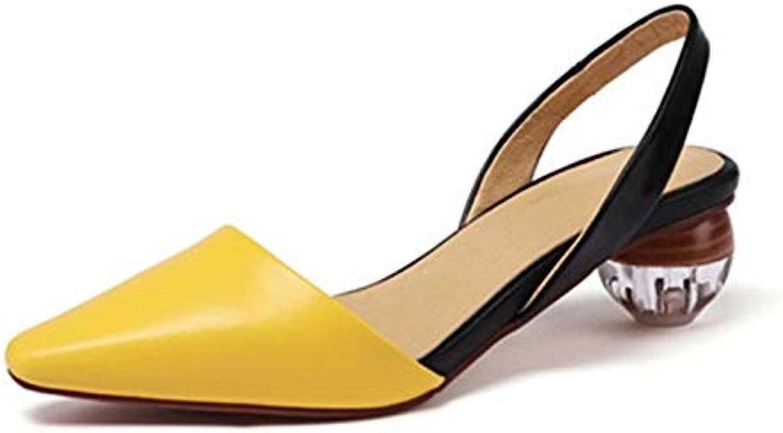 Gelb Strass Sandalen Plus Größe Größe Leder Solide Seltsame Stil Sommer Schuhe Frauen Spitz Ferse Sandalen  Online-Verkauf