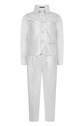 Vivaki Aelstores - Jungen Weste Anzug Wirbel, Pagenjunge Anzug, Jungen Hochzeit Anzug, Schwarz Hosen - Weiß, 12-18 Months