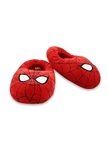Marvel Avengers Spider-Man Kids Plush Mooshy Slippers (4-5 M US Big Kid, Red)