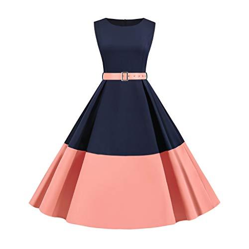 YWSZJ Elegante Vestido Retro de Mediana Longitud para Mujeres de Verano, Vestido de Noche sin Mangas de Remiendo de Color sólido (Color : A, Size : Large)