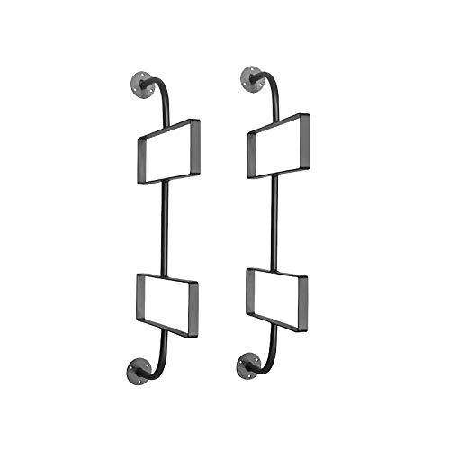 WYZQQ Soporte De Estante De Diseño Creativo De Múltiples Capas, Estantes Flotantes Montados En La Pared, Juego De 2, Estantes De Madera Con Soportes De Metal Negro, Estante De Almacenamiento