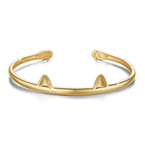 SHEGRACE Bracelet Femme Jonc Ouvert en Pur Argent 925 Sterling, Ornement Oreilles de Chat mignion...