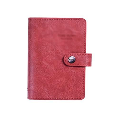 ZNZNN Cuaderno Retro Diario De Personalidad Cuaderno De Hojas Sueltas Multifuncional Portátil Simple Y Elegante (80 Hojas) Regalo Cuaderno Multifuncional (Color : Red)