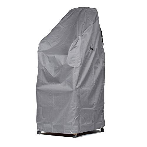 Mehr Garten Schutzhülle für Gartenstühle mit Belüftungsöffnungen, Wasserdicht Wetterfeste Premium Abdeckung für Stapelstühle, Stapelstuhl Abdeckplane 68 x 96 x 110/150 cm Lichtgrau