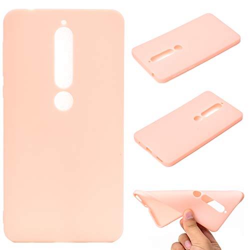 LeviDo Coque Compatible pour Nokia 6 2018/Nokia 6.1 Étui Silicone Souple Bumper Antichoc TPU Gel Ultra Fine Mince Caoutchouc Bonbons Couleurs Design Etui Etui Cover, Rose