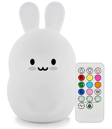 Nachtlicht Kinder, Tianhaixing Baby Nachtlicht Hase mit Fernbedienung und Farbwechsel Miffy Hase LED Kinderzimmerlampe mit Interner Wiederaufladbarer Akuu Hergestellt aus BPA-freiem Silikon