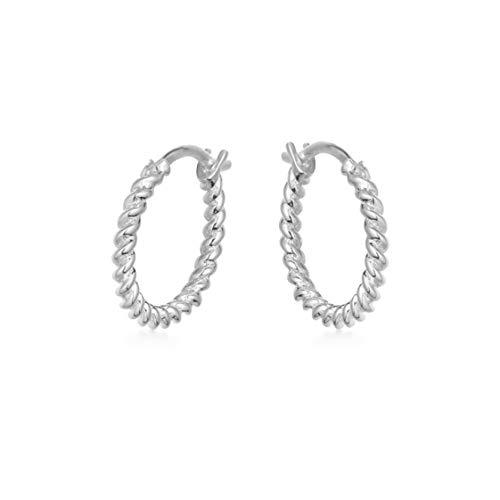 Brandlinger ® Atelier Creolen Gold für Damen und Mädchen. Gedrehte Ohrringe aus vergoldetem 925 Sterling Silber mit Durchmesser 11,5 mm