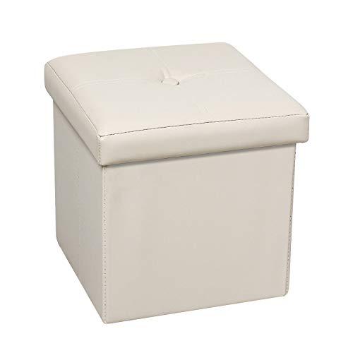 Bonlife Baúl Polipiel Cajas de Almacenaje Mesas Plegables Pequeñas Apoya Pies Oficina Banquetas para Dormitorio Sofas de Salon Blanco 30x30x30cm