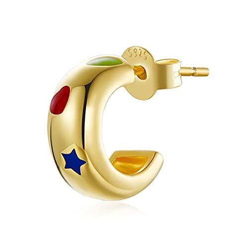 HMMJ Pendientes de botón, S925 Plata Hipoalergénico Chapado en Oro Real Estrella geométrica Chaquetas con un Solo Pendiente para Mujeres Hombres Niñas Regalo de cumpleaños SCE1194