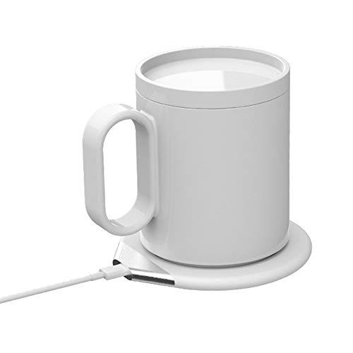 WOIA Taza termostática de Carga inalámbrica Taza de cerámica de Modo Dual con Posavasos, Blanco