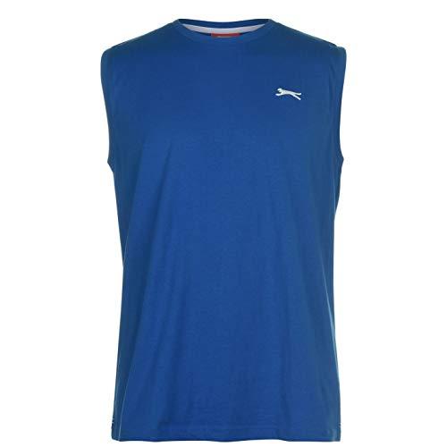 Slazenger Herren Ärmelloses T Shirt Rundhals Brustlogo Top Royal XXL