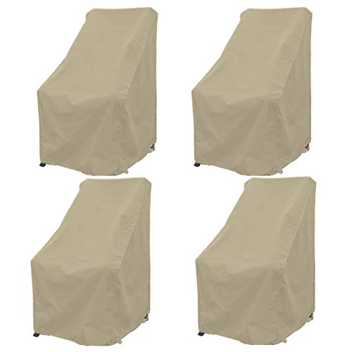 Premium Tight Weave Patio Hi Back Chair Covers Set of 4 with Adjustable Peel and Secure Fastener Strips Covers Furniture up to 42' H in Taupe