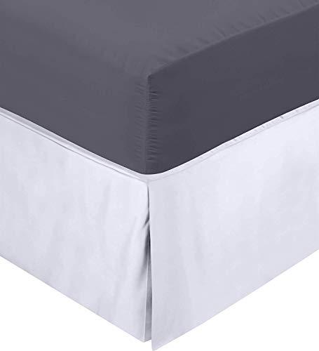 Utopia beddengoed Valance Sheet - Easy Care zacht geborsteld microvezel stof - geplooid - past onder het matras & neer op de vloer - Bed Base Rok (enkel, wit)