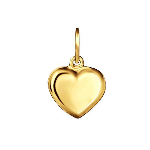 CLEVER SCHMUCK Goldener sehr Kleiner Kinder Anhänger Mini Herz 6 mm schlicht und beidseitig plastisch gewölbt glänzend 333 Gold 8 Karat
