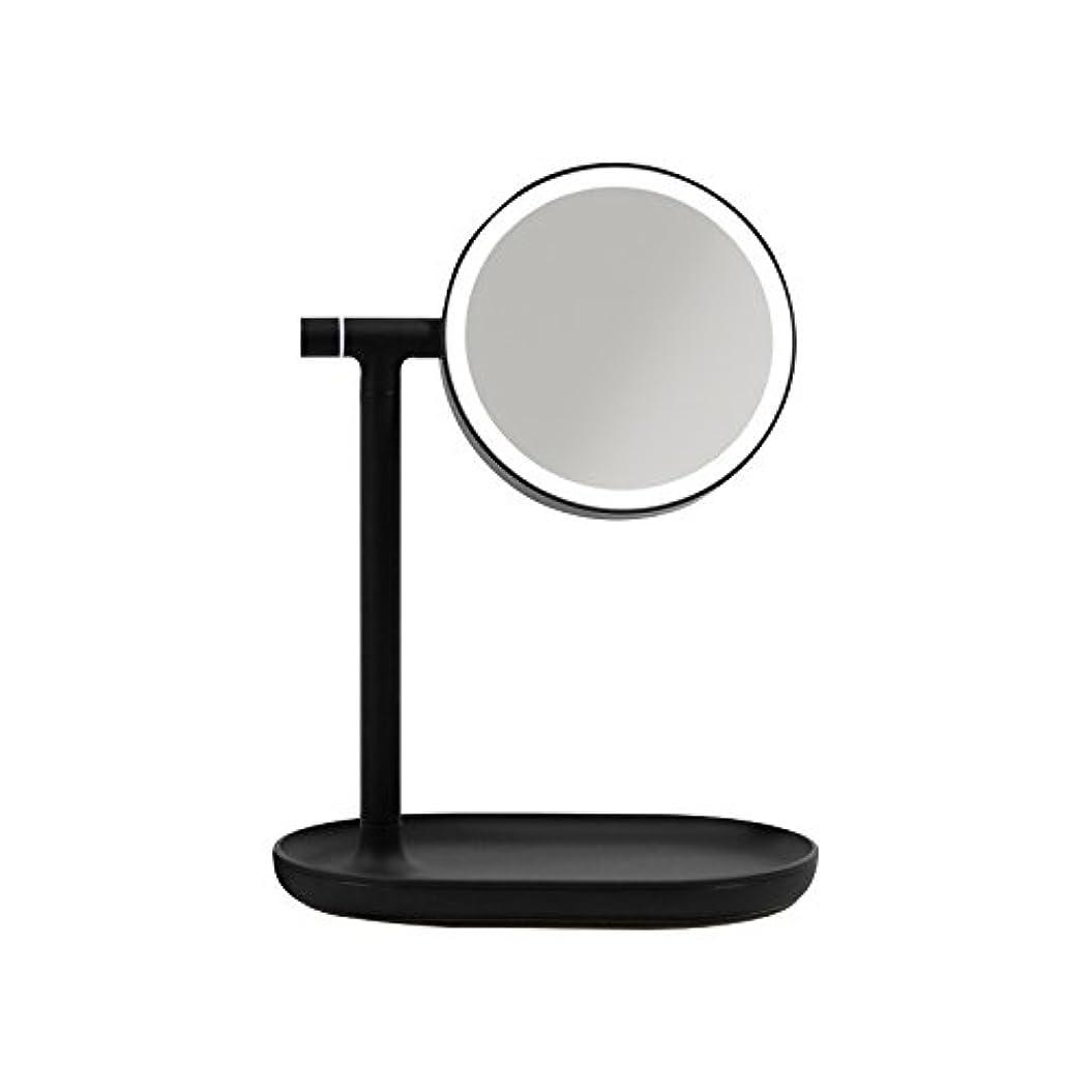 科学者皮肉宇宙の「生活のカタチ」 化粧鏡 スタンドミラー LED 270度回転卓上鏡 3倍拡大 収納トレー付 明るさ調節可 充電式 蓄電可能 メイク 美容用品 日用品 ライト付 4色 (ブラック)