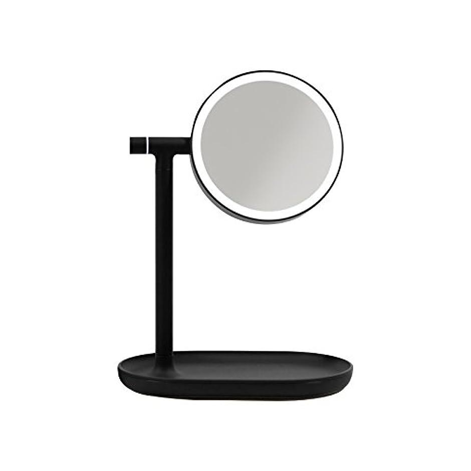 鮫大胆好奇心盛「生活のカタチ」 化粧鏡 スタンドミラー LED 270度回転卓上鏡 3倍拡大 収納トレー付 明るさ調節可 充電式 蓄電可能 メイク 美容用品 日用品 ライト付 4色 (ブラック)