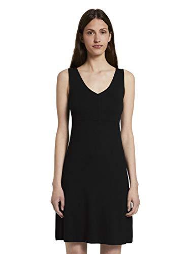 TOM TAILOR Damen Kleider & Jumpsuits Gemustertes Kleid mit V-Ausschnitt Deep Black,36