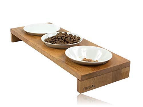 FINDAL - Katzennapf 3er Set gebeizte Buche, Echt Holz Futternapf mit 3 weißen Keramik Schüsseln, erhöhter Napf für Katze, Fressnapf spülmaschinenfest für Trockenfutter, Nassfutter & Wasser für Katzen