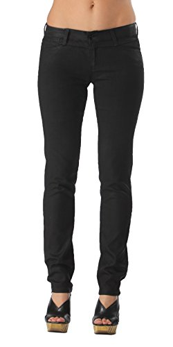 Coated Stretch Black Skinny Jeans   Low Rise Fitted Skinny Jeans for Women Juniors (30)