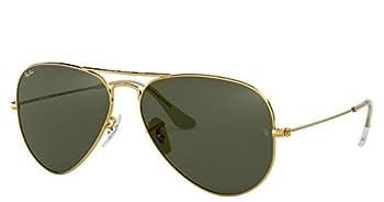 Ray-Ban RB3025 Aviator Sunglasses  58 mm Gold Metal Frame/Non-Polarized Green G-15 Lens