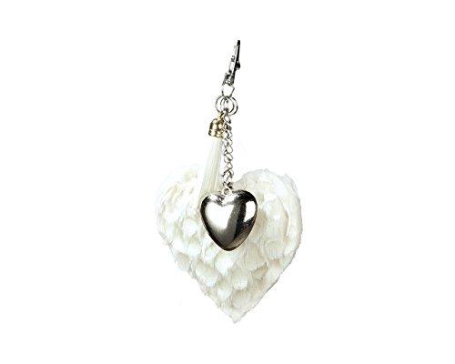 Taschenanhänger mit Karabinerhaken Stoff-Herz mit kleinem Metallherz, Valentinstag, Hochzeit (weiß)