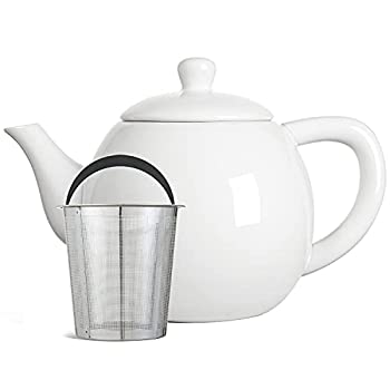 LE TAUCI Porcelain Tea Pot with Stainless Steel Infuser and Lid 32 Ounce Ceramic Serving Teapot Blooming & Loose Leaf Teapot White
