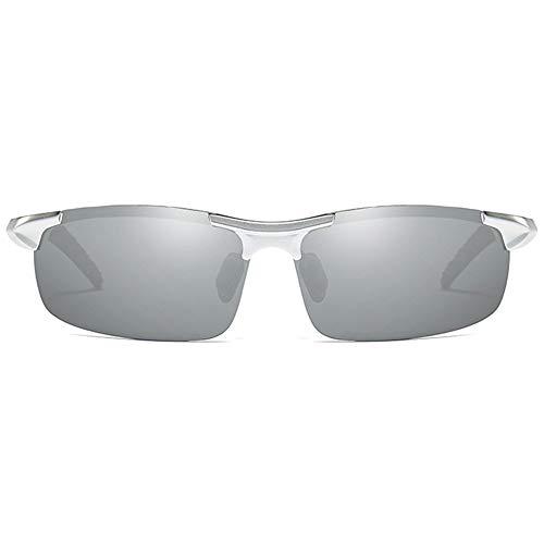 XiaoDong1 Polarizado Aluminio-magnesio Medio marco Deportes Día Y Noche Doble uso UV400 Gafas de sol tendencia plata marco plata lente hombres conducción gafas de sol