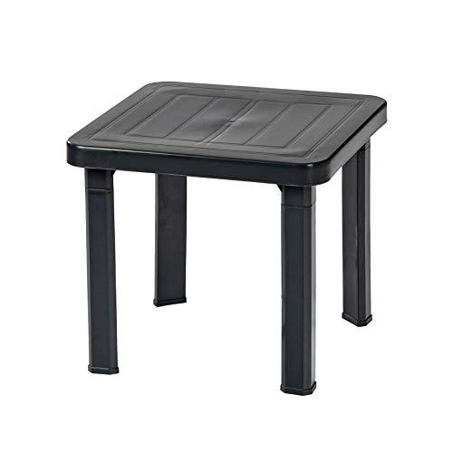 Resol 2 Piece Andorra Garden Patio Side Table Set - UV Resistant Outdoor Furniture - Grey - 47 x 47cm