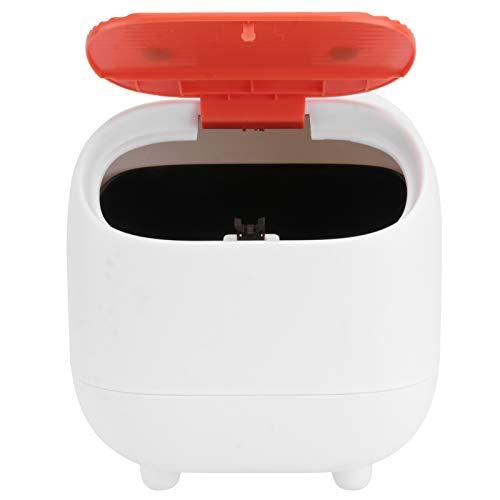 Cabilock Cubo de basura mini para compost, cubo de basura simple y limpio, con tapa a presión, tapa de trabajo, de plástico moderno, se puede utilizar para el cuarto de baño, color blanco
