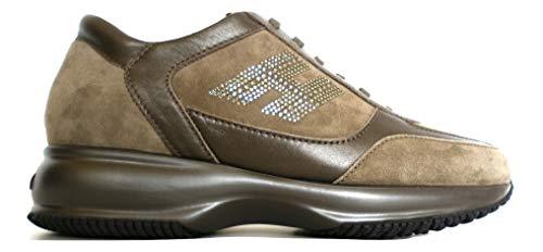 Hogan Zapatillas de mujer Interactive H Strass bicolor Modelo HXW00N0600067TC407 Tórtola Marrón Size: 39.5 EU