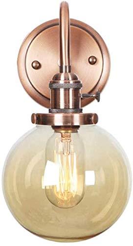 Ronde bol glazen lampenkap slaapkamer nachtkastje retro industriële wandlamp E27 metalen wandlamp rosé gouden lampen gebogen smeedijzeren wandlamp (Ambra)