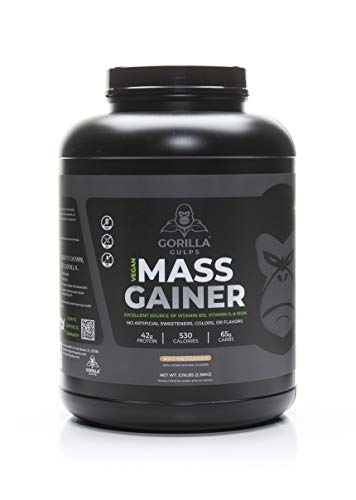 Gorilla Gulps – Mocha Vegan Mass Gainer – 5 lb Natural Protein Powder, GMO Free, Gluten Free, Soy Free. No Artificial Ingredients – Vitamin B12 + D3, & Iron – 530 Calories – 18 Servings