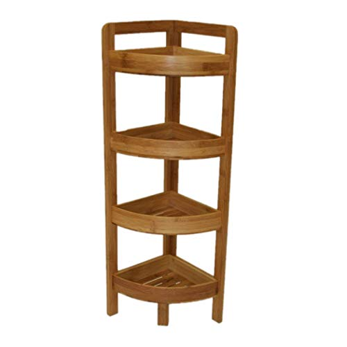 eHemco 4 Tier Bamboo Corner Shelf in Dark Oak