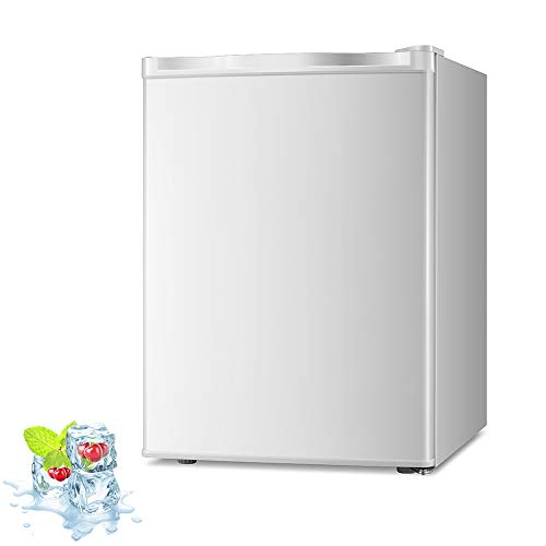 Kismile 2.1 Cu.ft Compact Upright Freezer with Reversible Single Door,Removable Shelves Mini Freezer with Adjustable Thermostat for Home/Kitchen/Office (White) (2.1 Cu.ft, White)