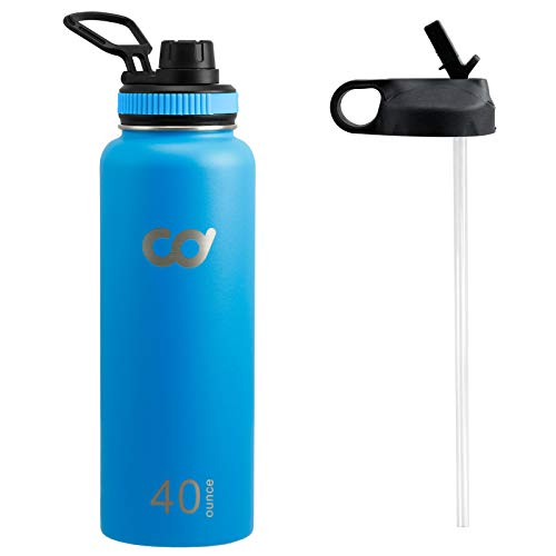 CyclingDeal Stainless Steel Vacuum Insulated Double Wall Straw Water Bottle 40oz Blue (1183ml) Blue for Peloton