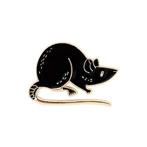 12 Zodiac Black and White Enamel Mouse Brooch and Pin (black)