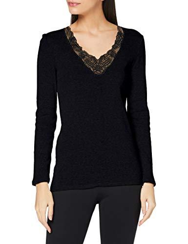 Damart Tee Shirt Manches Longues Maille AJOUREE-38988 sous-vêtement, Noir, XS Femme