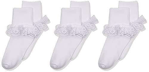 Jefferies Socks Big Eyelet Turn Cuff/Fancy Lace Girls Socks 3 Pack, White, Small