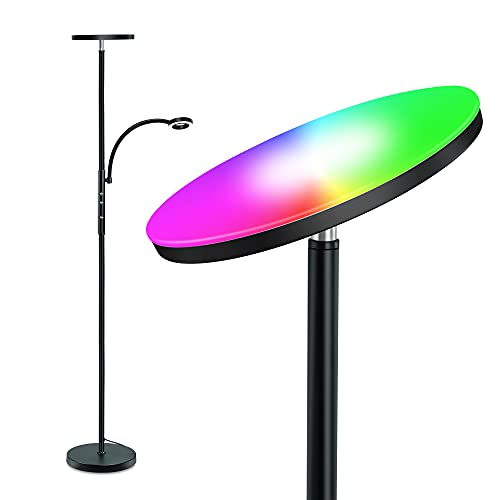LED Floor Lamp, STASUN Super Bright RGB Torchiere Lamp with Adjustable Reading Lamp, Remote & Touch Control, 1600LM Main Light and 300LM Side Light for Living Room, Bedroom, Office, Black