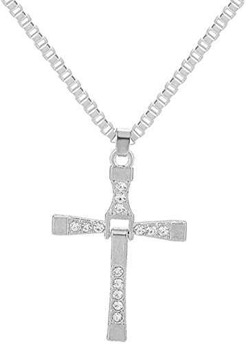 Necklace Fast & Furious Movies Actor Dominic Toretto Rhinestone Cross Crystal Pendant Chain Necklace Men Jewelry
