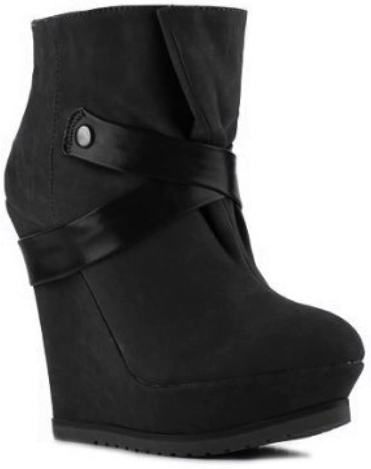 Qupid Parlane-06 Faux Suede Wedge Platform Ankle Booties High Top Platform Heel Boot