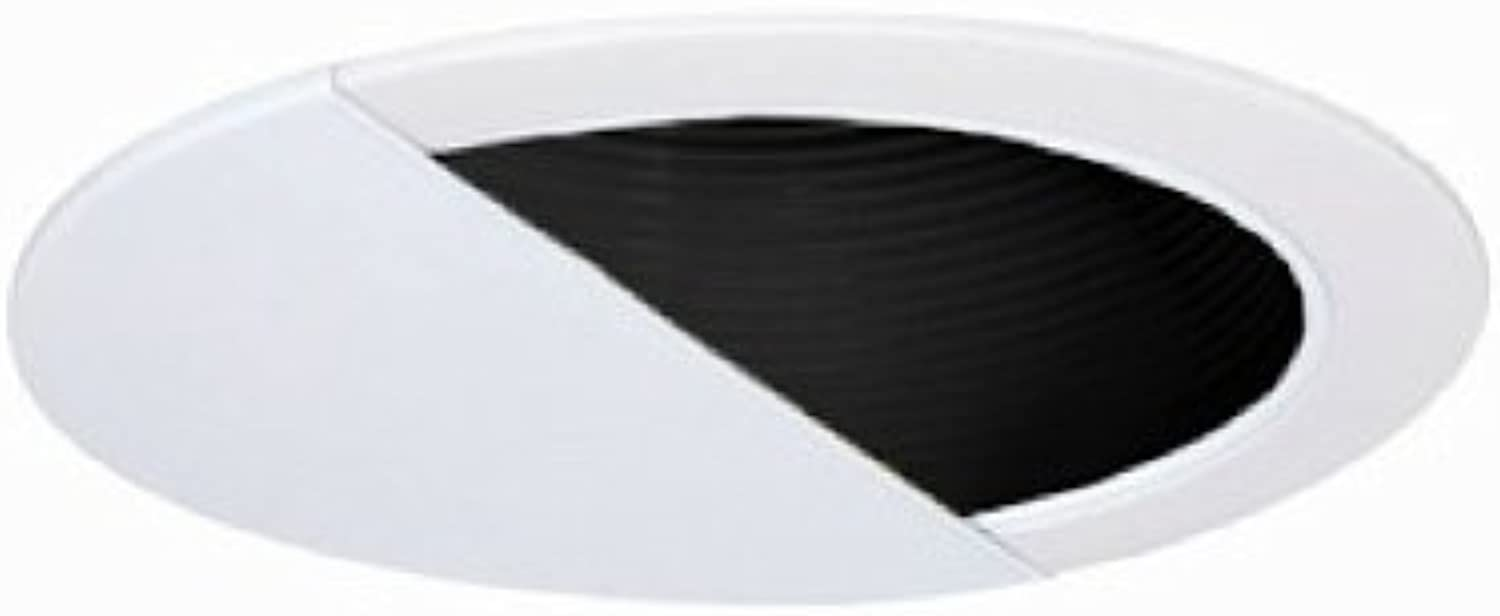 Jesco Lighting TM629BKWH 6-Inch Aperture Line Voltage Trim Recessed Light, Wall Washer With Step Baffle, schwarz Finish With Weiß Trim by Jesco Lighting Group