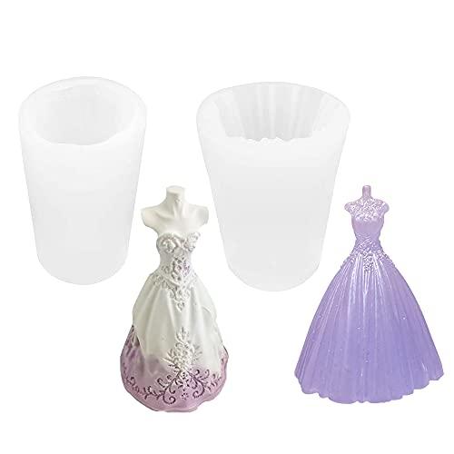 Moldes de silicona para velas, de Mopoin, con forma de vestido de novia, 3D, molde de silicona, molde para velas, para jabón, artesanía, adornos, chocolate, dulces, (2 unidades)