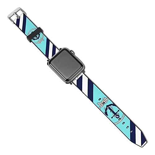 Compatible con Apple Watch Band Correa de reloj con ancla azul náutico, nudo azul marino, rayas blancas, 38 mm, 40 mm, correa de repuesto de piel sintética suave para iWatch Series 5 4 3 2 1