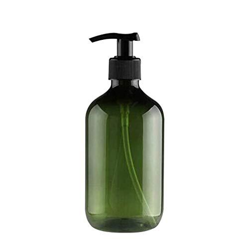 GHHG 2 botellas vacías de plástico rellenables de 300 ml/10 onzas, botella de loción para el cuerpo, champú y crema de ducha, soporte de almacenamiento de gel, dispensador de líquidos (marrón y verde)